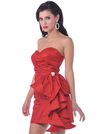 1351 Cocktail Dress with Oversize Bow - Red, Front View Medium