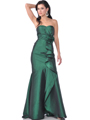 1353 Strapless Evening Dress with Rosette Decore - Green, Front View Thumbnail