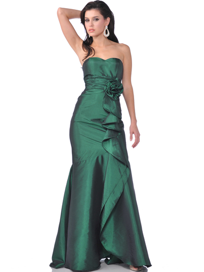 1353 Strapless Evening Dress with Rosette Decore - Green, Front View Medium