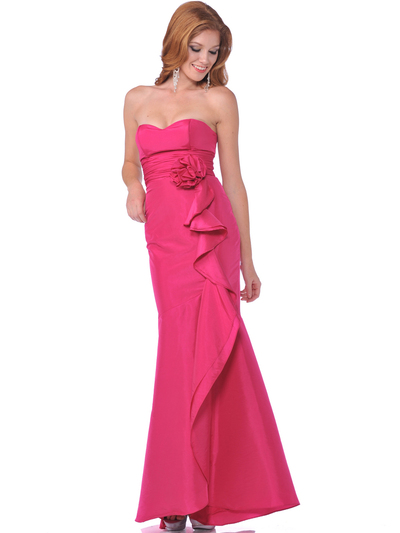 1353 Strapless Evening Dress with Rosette Decore - Hot Pink, Front View Medium