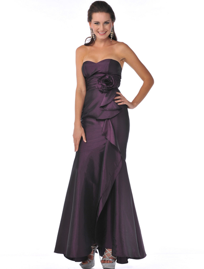 1353 Strapless Evening Dress with Rosette Decore - Plum, Front View Medium