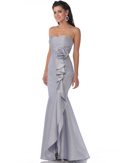 1353 Strapless Evening Dress with Rosette Decore - Silver, Front View Medium