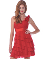 1354 One Shoulder Rosette Strap Cocktail Dress - Red, Front View Thumbnail