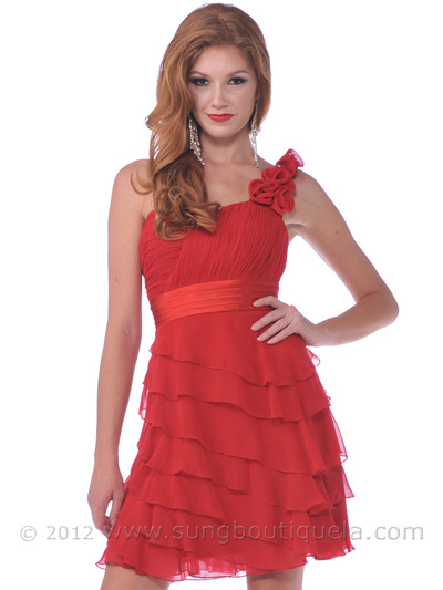 1354 One Shoulder Rosette Strap Cocktail Dress - Red, Front View Medium