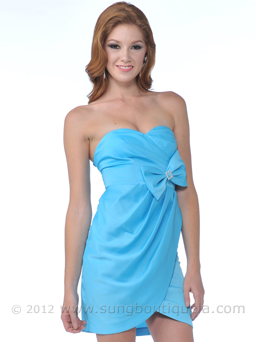 Strapless Cocktail Dress with Bow - Sung Boutique L.A.