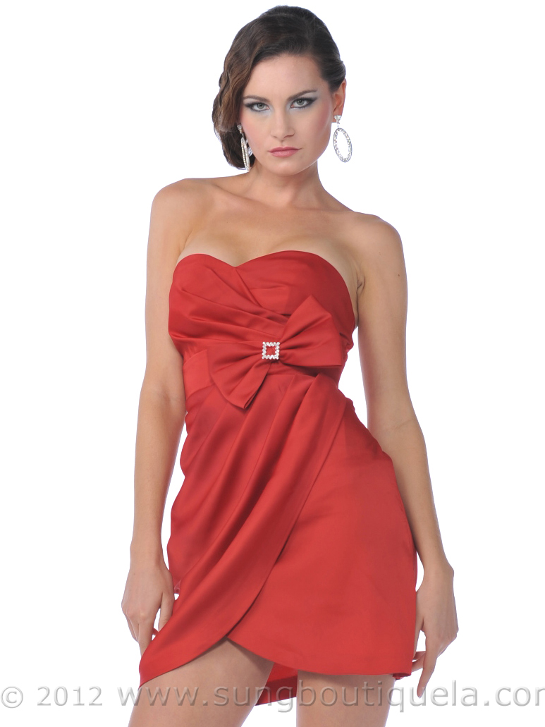Strapless Cocktail Dress with Bow | Sung Boutique L.A.