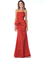 1357 Strapless Taffeta Evening Dress - Red, Front View Thumbnail