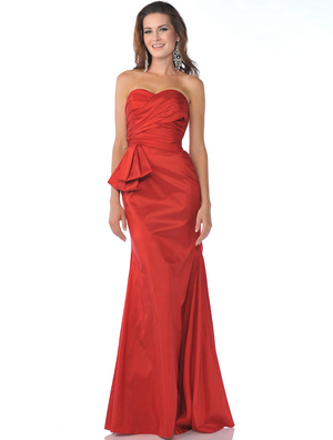 1357 Strapless Taffeta Evening Dress, Red