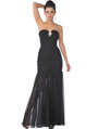 1358 Black Strapless Evening Dress with Rhinestone Decor - Black, Front View Thumbnail