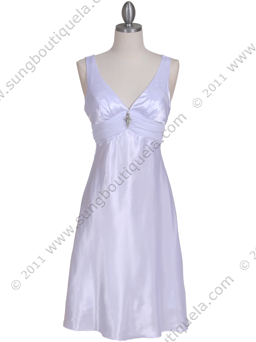 1408 White Charmeuse Cocktail Dress - Front Image