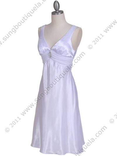 1408 White Charmeuse Cocktail Dress - White, Alt View Medium