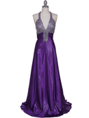Purple Halter Rhinestone Evening Dress