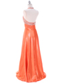 148  Tangerine Halter Rhinestone Evening Dress - Back Image