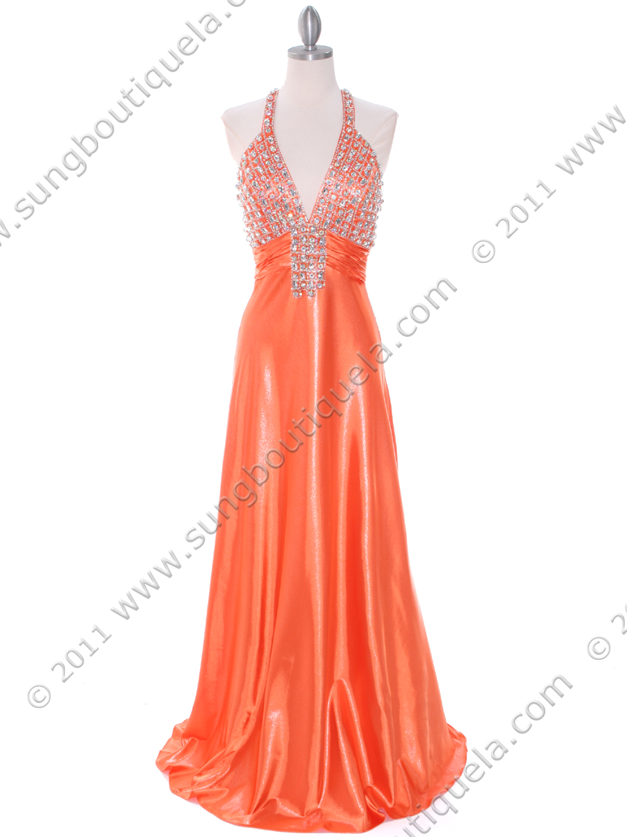 148 Tangerine Halter Rhinestone Evening Dress - Front Image