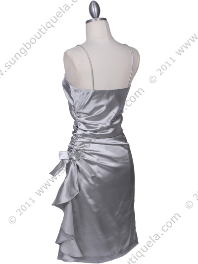 1517 Silver Cocktail Dress - Silver, Back View Medium