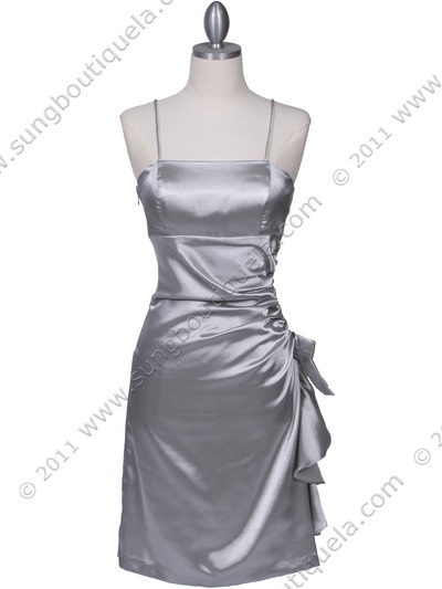 1517 Silver Cocktail Dress - Silver, Front View Medium