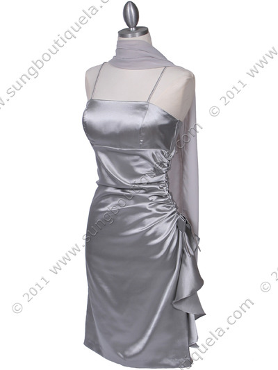 1517 Silver Cocktail Dress - Silver, Alt View Medium