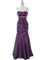 Plum Taffeta Evening Dress - Front Image