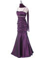 Plum Taffeta Evening Dress - Alt Image
