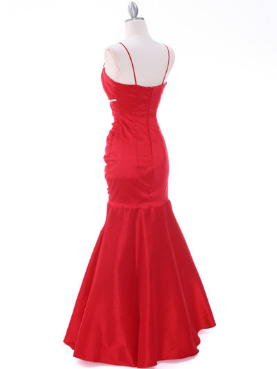 1546 Red Taffeta Evening Dress - Red, Back View Medium