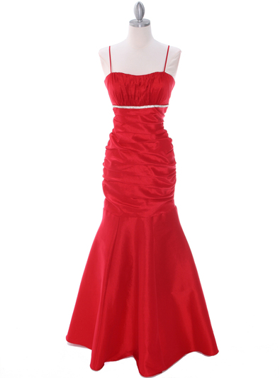 1546 Red Taffeta Evening Dress - Red, Front View Medium