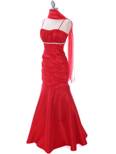 1546 Red Taffeta Evening Dress - Red, Alt View Medium