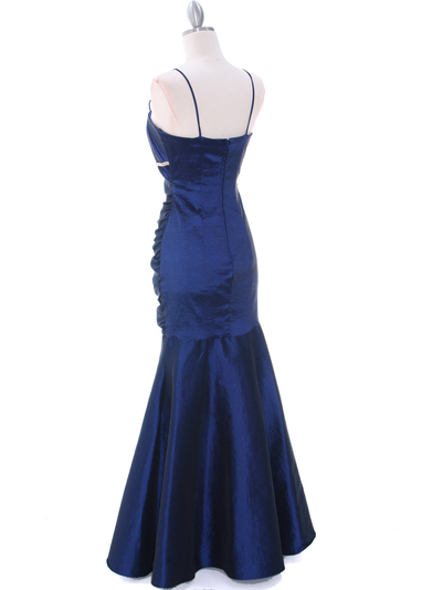 1546 Royal Blue Taffeta Prom Dress - Royal Blue, Back View Medium