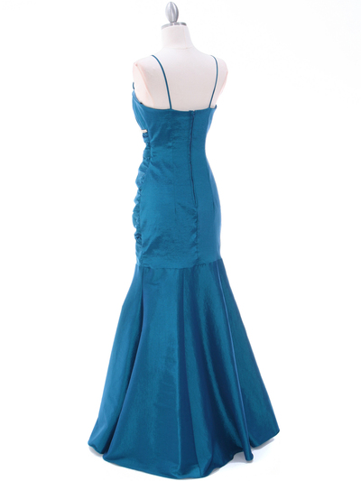 1546 Teal Taffeta Bridesmaid Dress - Teal, Back View Medium