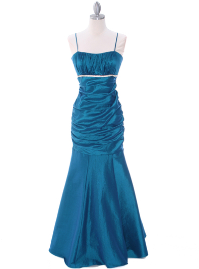 1546 Teal Taffeta Bridesmaid Dress - Teal, Front View Medium