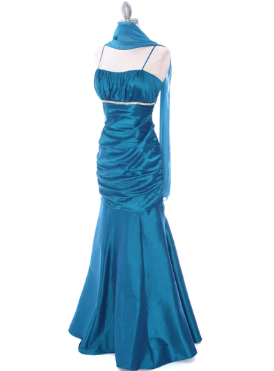 1546 Teal Taffeta Bridesmaid Dress - Teal, Alt View Medium