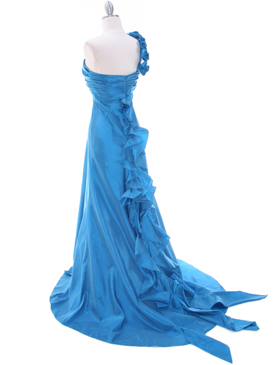 1613 Indigo Blue Taffeta Rosette Prom Evening Dress - Indigo Blue, Back View Medium