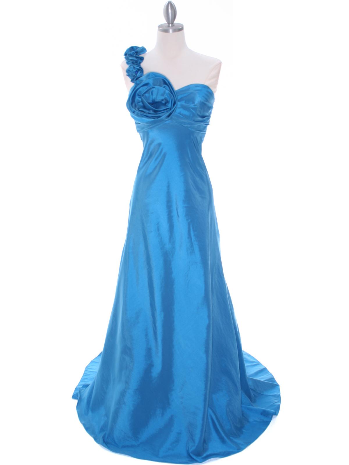 Indigo Blue Taffeta Rosette Prom Evening Dress Sung