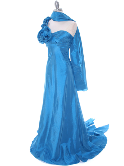 1613 Indigo Blue Taffeta Rosette Prom Evening Dress - Indigo Blue, Alt View Medium