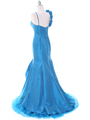 1616 Indigo Taffeta Prom Evening Gown - Indigo, Back View Thumbnail