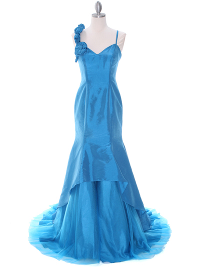 1616 Indigo Taffeta Prom Evening Gown - Indigo, Front View Medium