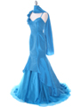 1616 Indigo Taffeta Prom Evening Gown - Indigo, Alt View Thumbnail