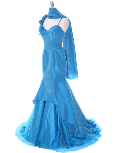 1616 Indigo Taffeta Prom Evening Gown - Indigo, Alt View Medium