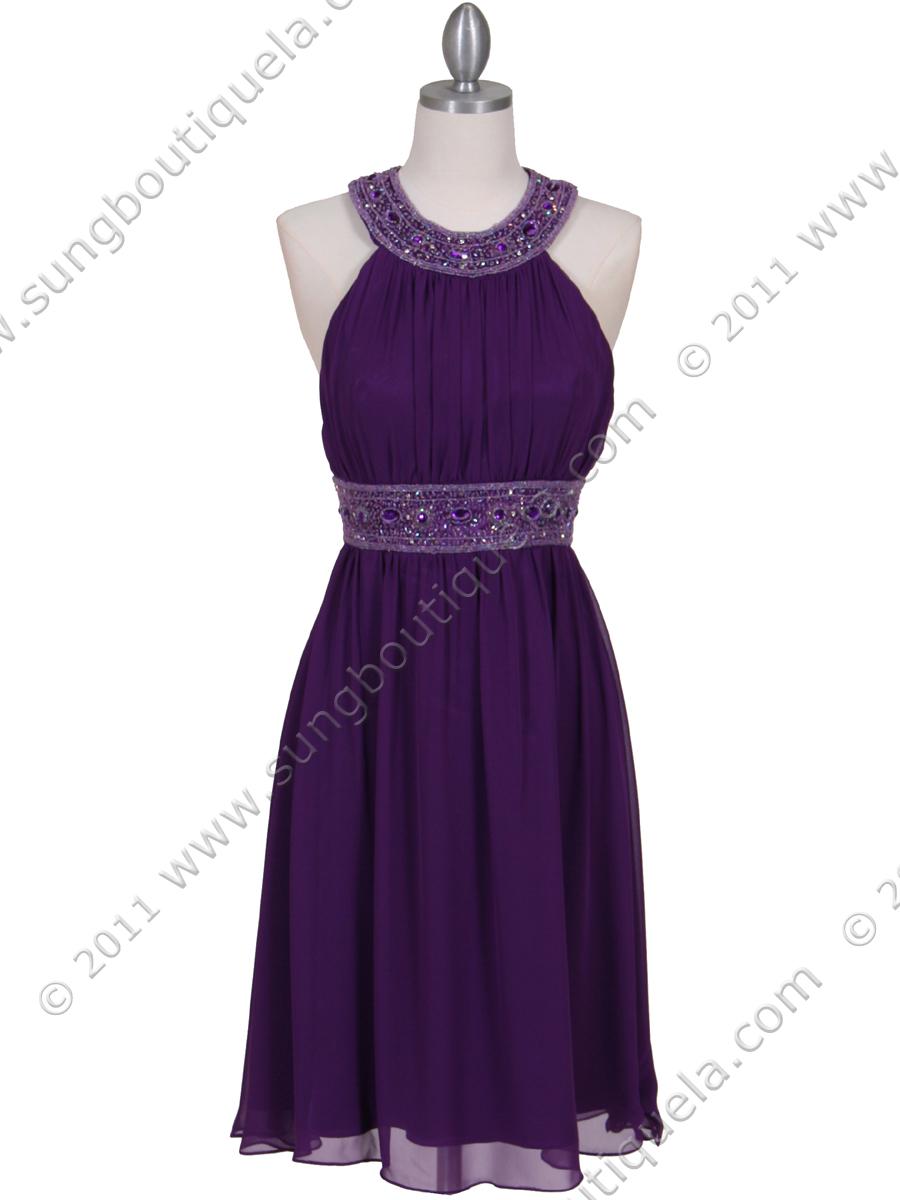 Purple Beaded Cocktail Dress Sung Boutique L A