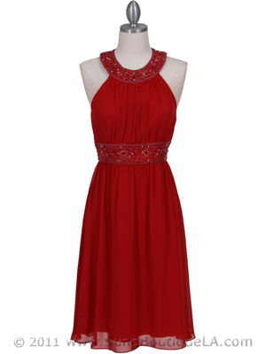 161 Red Beaded Cocktail Dress, Red