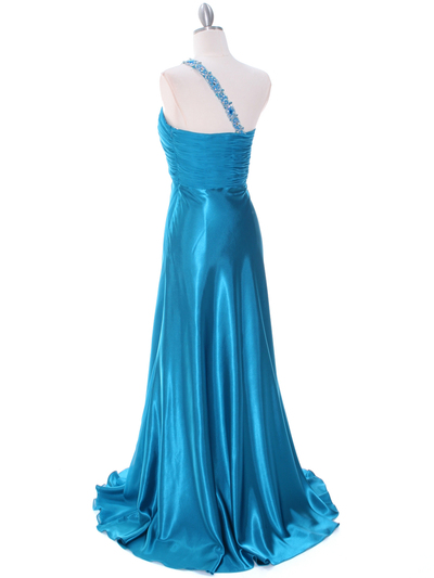 1622 Teal Beaded One Should Prom Evening Dress - Teal, Back View Medium