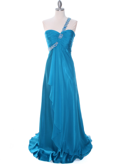 1622 Teal Beaded One Should Prom Evening Dress - Teal, Front View Medium