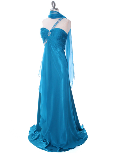 1622 Teal Beaded One Should Prom Evening Dress - Teal, Alt View Medium
