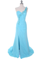 1624 Aqua One Shoulder Evening Dress - Aqua, Front View Thumbnail
