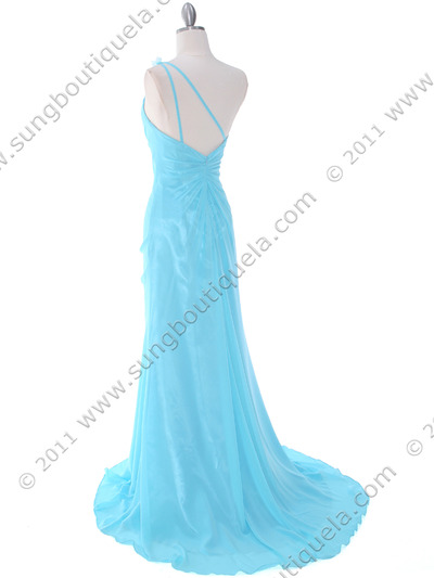 1624 Aqua One Shoulder Evening Dress - Aqua, Back View Medium