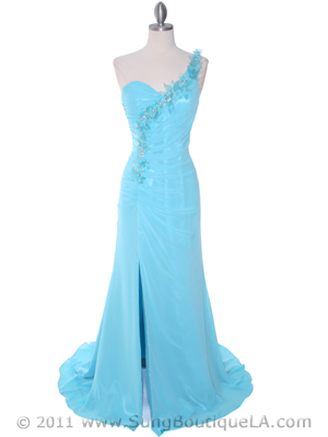 1624 Aqua One Shoulder Evening Dress, Aqua