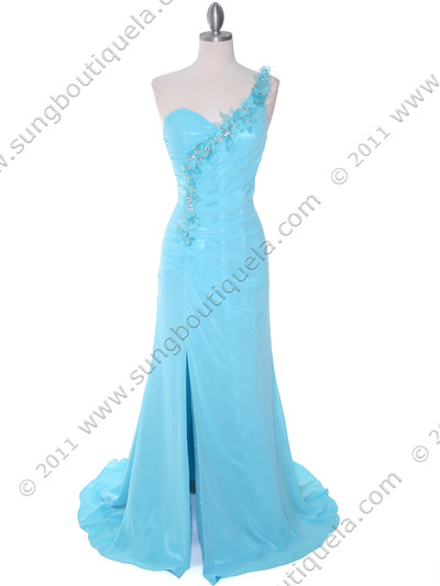 1624 Aqua One Shoulder Evening Dress - Aqua, Front View Medium