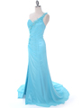 1624 Aqua One Shoulder Evening Dress - Aqua, Alt View Thumbnail