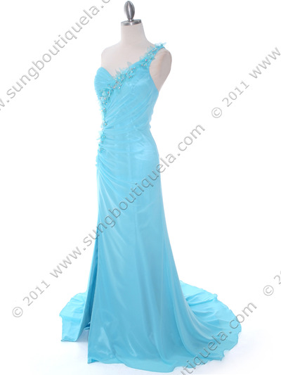 1624 Aqua One Shoulder Evening Dress - Aqua, Alt View Medium
