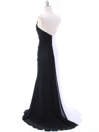 1624 Black/White One Shoulder Floral Evening Dress - Black White, Back View Medium