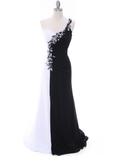 1624 Black/White One Shoulder Floral Evening Dress - Black White, Front View Medium